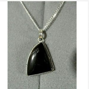 New ONYX Charm Pendant Necklace Set 925 Silver
